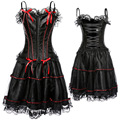 Satin Plus Size Corset Nightclub Slip Costume Hollow Out Sexy Lace Up Crop Tops Waisted Black Body Shaper Pleated Slip Bandage
