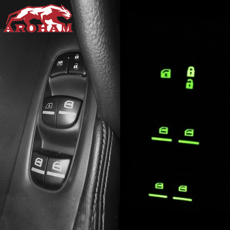 Aroham Window Switch Fluorescence Sticker Cover Trim For Nissan X-trail Rogue T32 Qashqai J11 Almera Sylphy Teana Tiida