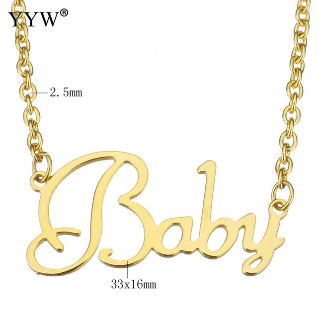 Classic Letter Word Baby Necklaces Stainless Steel Gold Color Oval Chain Choker Necklace Women Girl Party Jewelry collier femme