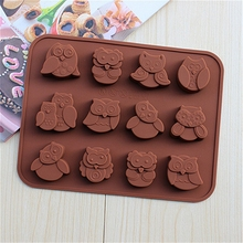 GZZT 12pcs Owl Chocolate Molds Silicone Moulds DIY Baking Tools Birthday Party Decoration Gifts