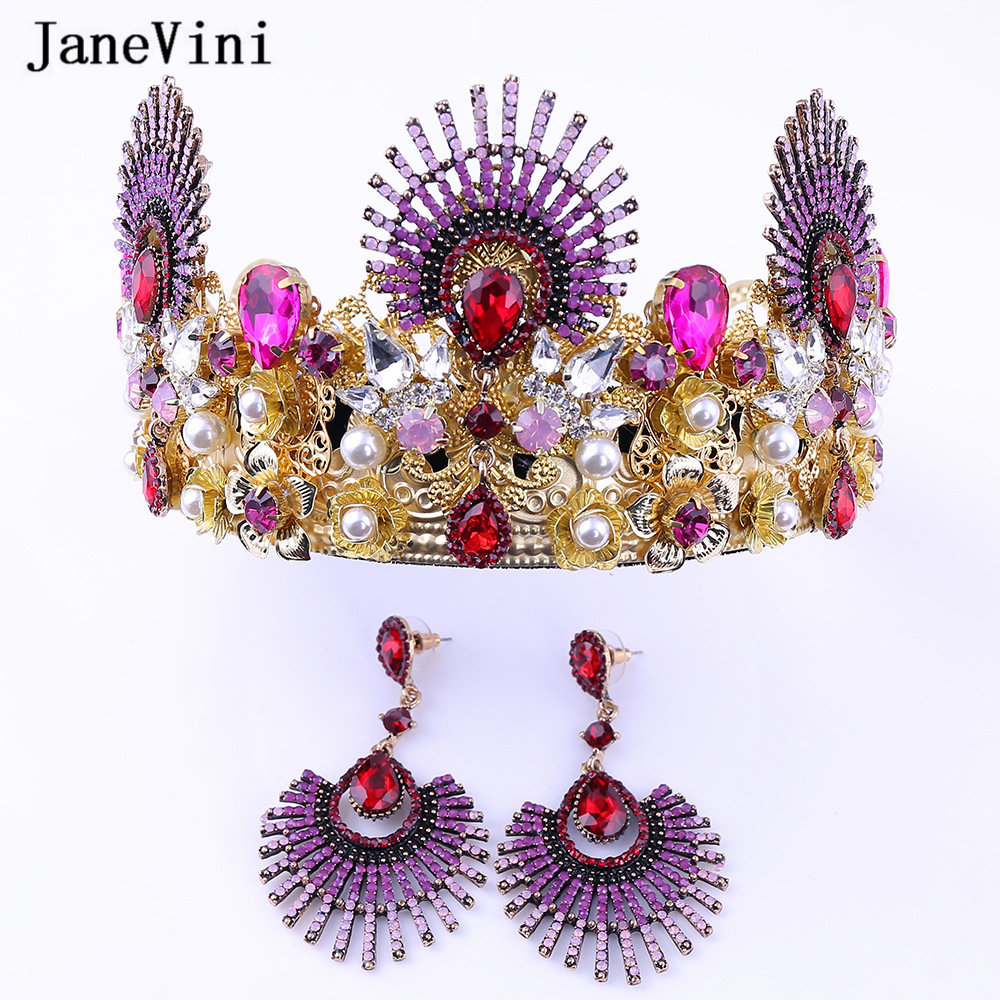 JaneVini Luxury Baroque Rhinestone Bridal Tiaras and Crowns Diadem Pageant Crown with Earrings Wedding Jewelry Hair Accessories