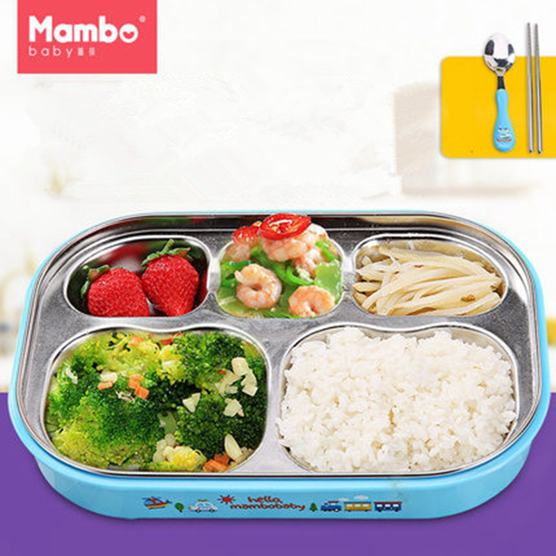 Mambobaby 304 Stainless Steel Japanese baby Feeding Bowl Lunch Box With Compartments Microwave Bento Box For Kids