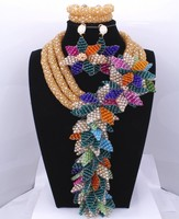 Gold And Peacock Green Fashion Women's Turkish Dubai Jewelry Set Colored Crystal Flowers Beads Statement Costume Necklace Set