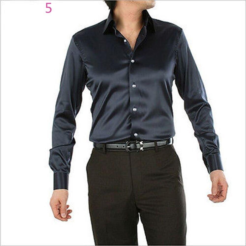 Personnalisé décontracté mode homme chemise en satin de soie à manches longues nouveau chemise marié chemise