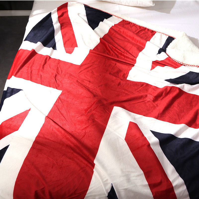 Warm soft fleece blankets Union Jack double layer thick plush throw on sofa bed plane bedspreads home textile USA canadian flag zhh warm soft fleece strip blankets double layer thick plush throw on sofa bed plane plaids solid bedspreads home textile 1pc