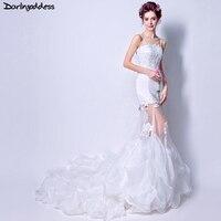 Darlingoddess vestidos de novia correa de espagueti de la sirena vestido sexy opacidad Encaje formal vestidos de novia robe de mariee