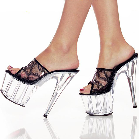 Shoes Woman New 2018 Summer Elegant High Heels 15cm Fine Transparent Glass Slipper Women Shoes Steel Tube Dancing Shoes Sandals 15cm club shoes big star with steel tube dancing shoes 34 and 46 yards high with the lacquer that bake single crystal shoes