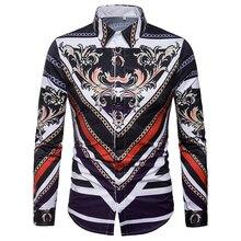 DropshippingMens Dress Shirts Striped Design Slim Fit Shirt Men Casual Baroque Style Long Sleeve Camisa Masculina