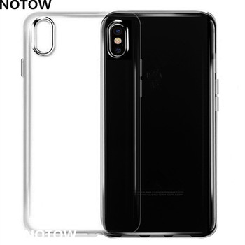 NOTOW 50pcs/lot Clear Soft TPU Case Transparent Crystal Cover Silicone gel Blank Skin Cell phone Luxury Shell for iphone X