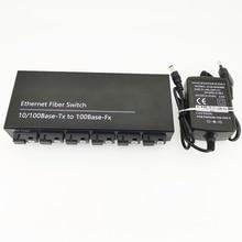 6F2E 10/100 м Ethernet коммутатор 6 оптоволоконный порт 25 км 2 UTP RJ45 Быстрый Erhetnet волоконно-оптический коммутатор с 5 в 2 А источник питания