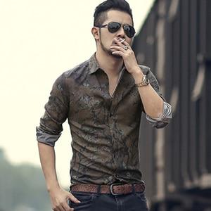 Image 2 - Mannen nieuwe winter Vintage shirt gedrukt bloem lange mouwen mannen slim mode katoen Europese stijl kwaliteit brand shirt S2333