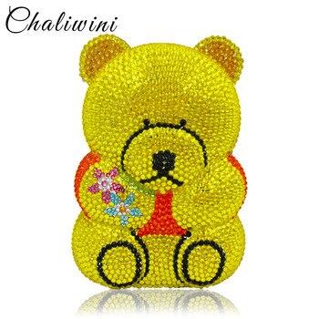 Adorable Little Bear Ladies Crystal Evening Minaudiere Clutch Bag Women Clutch Evening Handbag wholesale Factory Price Party Bag