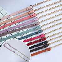 Gold Metal Chain Shoulder Strap For Bag Colorful Real Leather Handbag Straps Replacement Purse Handles