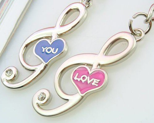 Free Shipping Loves Keychainslove You Music Symbols Key Chain
