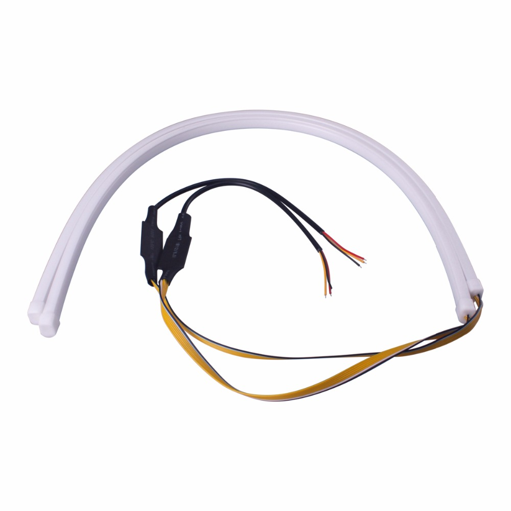 2Pcs/Lot 60cm Flowing DRL Flexible LED Tube Strip Daytime Running Lights Turn Signal Angel Eyes Car Styling White/Yellow 2017 2pcs 30cm led white car flexible drl daytime running strip light soft tube lamp luz ligero new hot drop shipping oct10