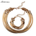 Miwens Vintage Maxi Annular Choker Necklace Bracelet Jewelry Sets Fashion Women Trend Multlayer Alloy Statement Necklace 7203