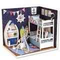 Miniatura de móveis casa de bonecas diy casas de boneca em miniatura casa de bonecas de madeira feitos à mão brinquedos para crianças presente de aniversário H011