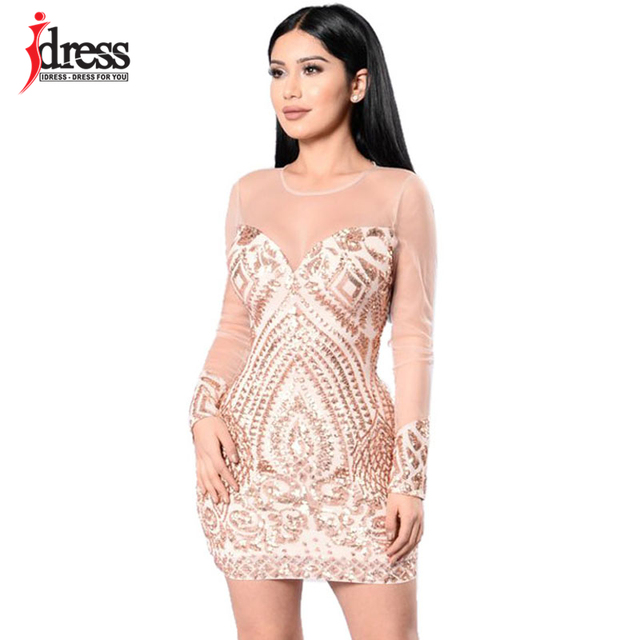 36d58ddf39 US $24.13 |IDress Free Shipping Women Summer Bodycon Dress Black Gold  Sequin Dress Mesh Long Sleeve Mini Party Club Wear Sexy Sequin Dress-in  Dresses ...