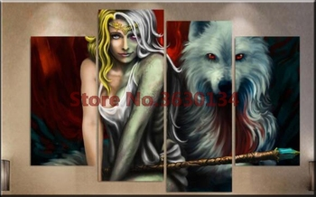 5D Diamond Embroidery DIY Diamond Painting Wolf and magical beauty 4pcs Diamond Painting Cross Stitch Rhinestone Diamond Mosaic фото