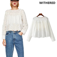 Withered 2017 Blusas Kimono Blouse Women Vintage High Street Lace Tie Cherry Design Hollow Out Lining