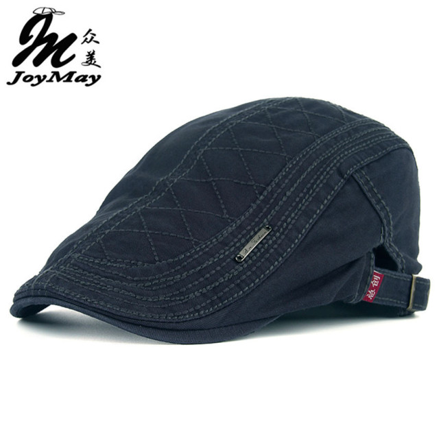 JOYMAY New Autumn Cotton Berets Caps For Men Casual Peaked Caps grid embroidery Berets Hats Casquette Cap Y006