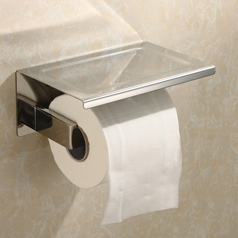 sus304 stainless steel toilet paper tissue holder paper roll with mobile phone stand storage shelf bathroom paper holders from home
