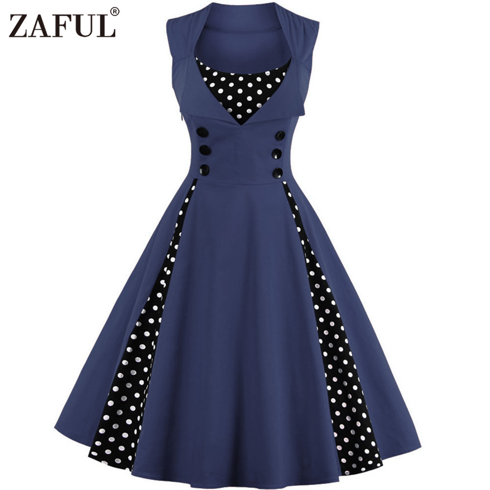 zaful new plus size summer dress women blue polk dot. Black Bedroom Furniture Sets. Home Design Ideas