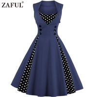 ZAFUL Plus Size Summer Women Black Polk Dot Vintage Dress Audrey Hepbum 50sRockabilly Robe Retro Party