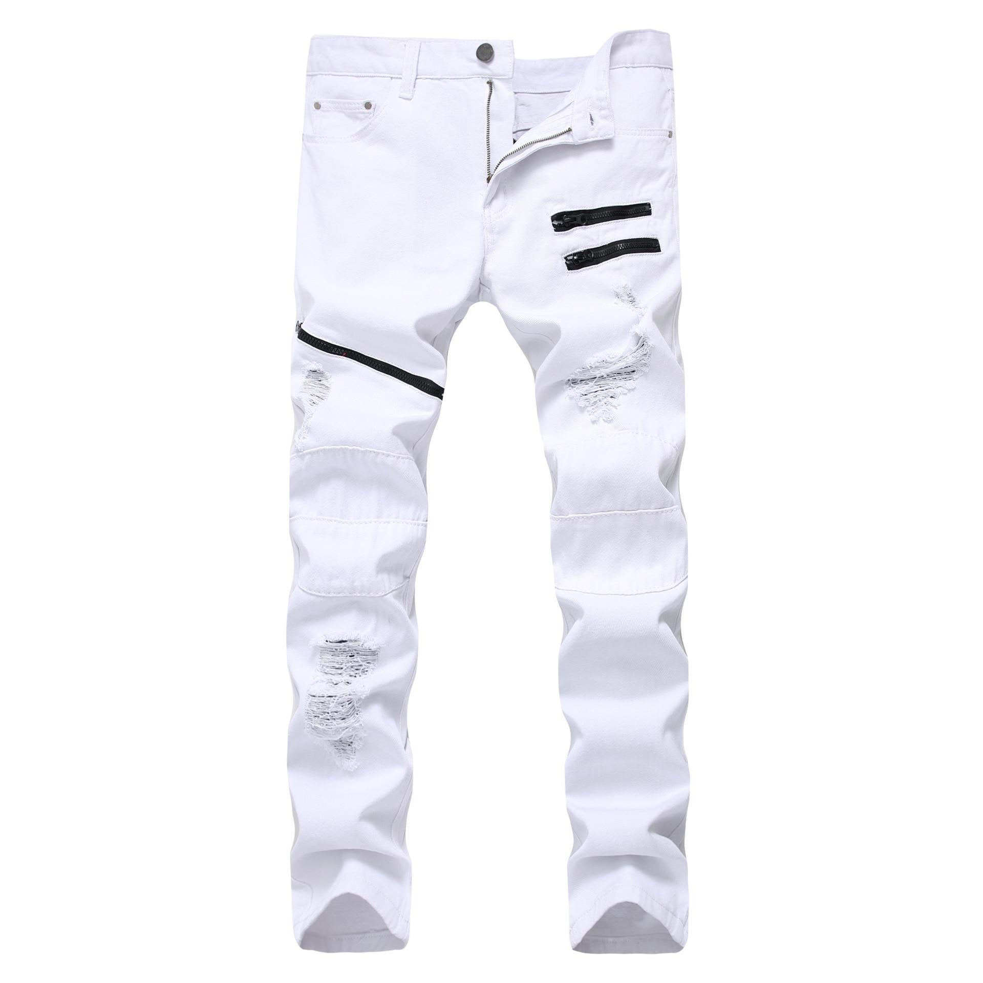 White Red Hole Slim Skinny men's Ripped Jeans Multiple Zipper Decoration Casual Hip Hop Jeans Men Streetwear Denim Trousers