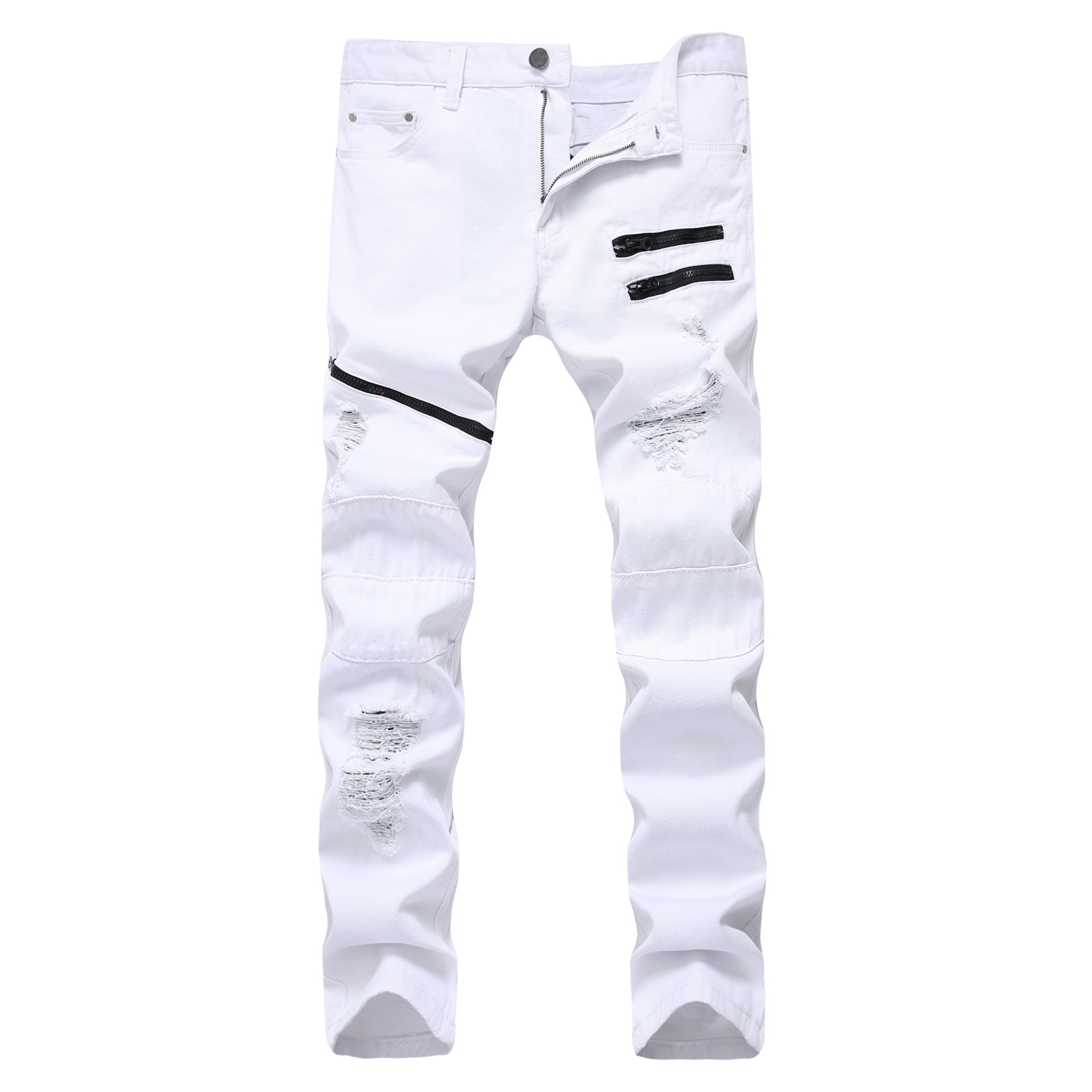 White Red Hole Slim Skinny Men's Ripped Jeans Multiple Zipper Decoration Casual Hip Hop Jeans Men Streetwear Denim Trousers