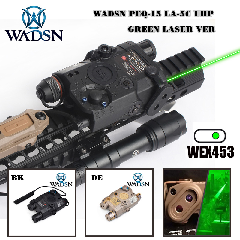 WADSN Airsoft PEQ LA5C With green dot lazer Tactical UHP Appearance No Function Just Green Laser Zero Reset Weapon Lights WEX453-in Weapon Lights from Sports & Entertainment