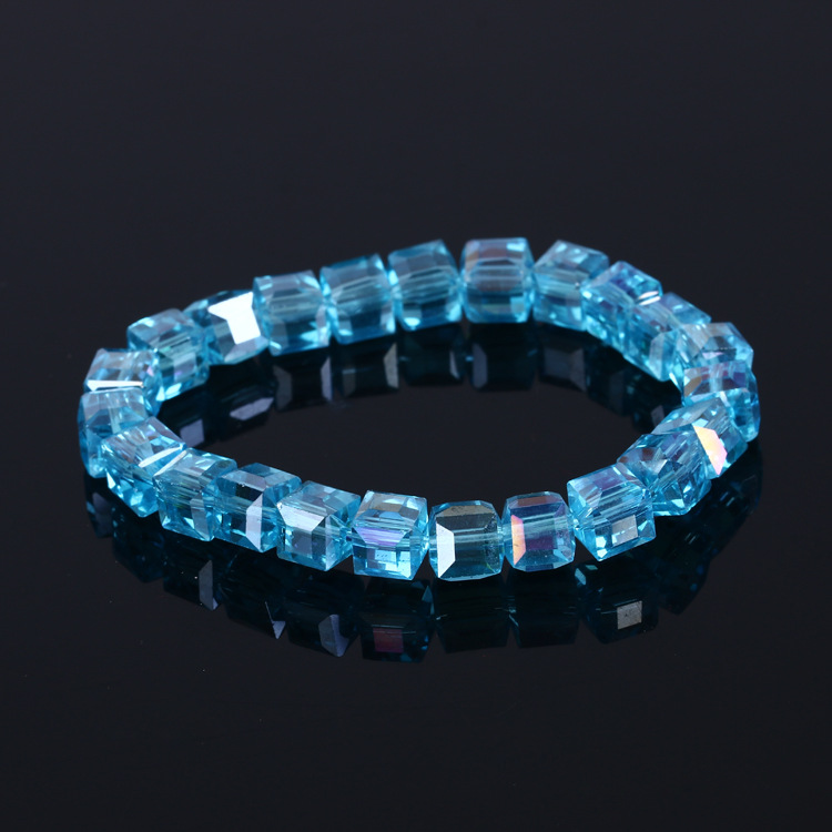6pcs Cool Summer Bohemia Candy Jelly Crystal Charm Bracelets Bangles Beaded Elastic Accessories Women