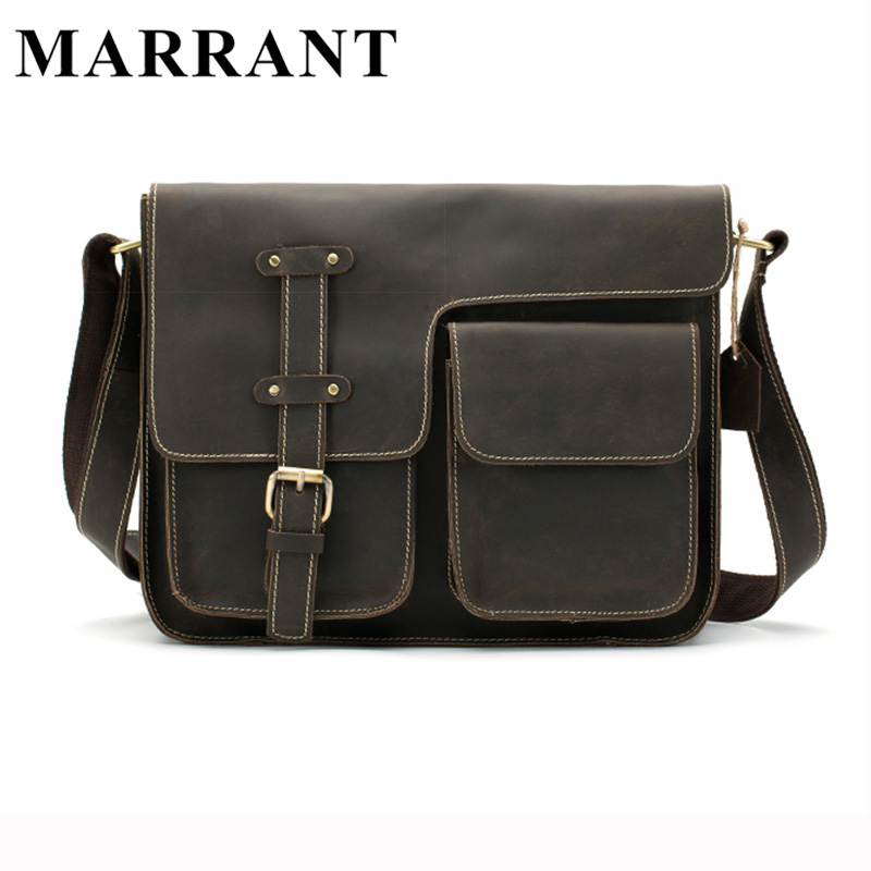 ФОТО MARRANT Men Bags Genuine Leather Men's Briefcase Vintage Crazy Horse Leather Crossbody Shoulder Handbag Men Messenger Bag 1050