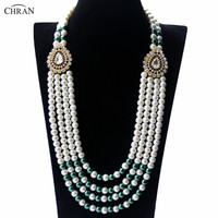 CHRAN Unique Indian Style Gold Sivler Color Drop Design Charm Jewelry Fashion Long Statement Women Simulated