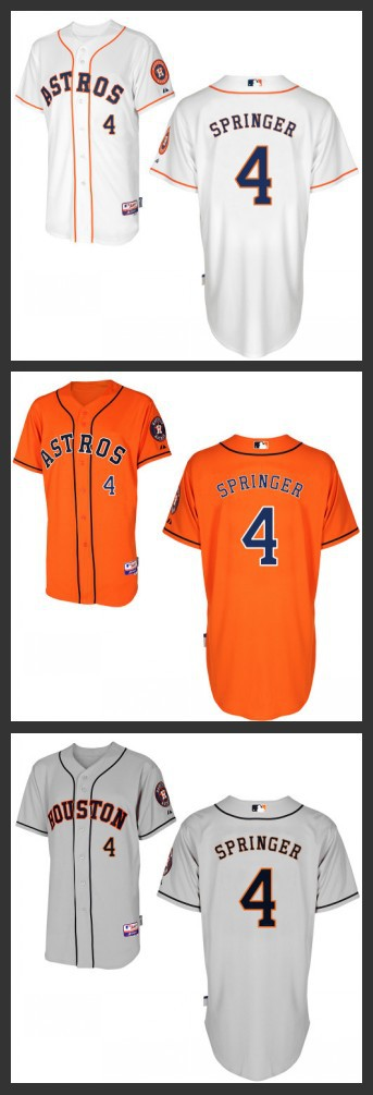 1b49fbe71 ... Cheap Mens Houston Astros Jersey Authentic 4 George Springer Baseball  Jersey Name and Number stitched Embroidery ...