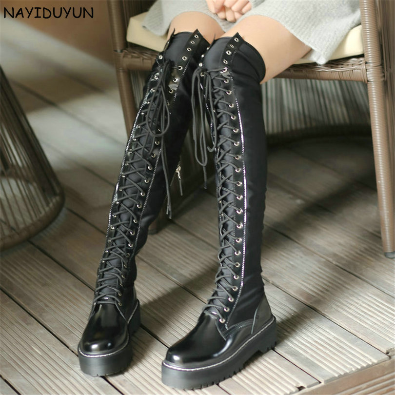 NAYIDUYUN Cuisse Haute Bottes Femmes Noir à lacets Sur Le Genou Chaussons D'hiver Grand Arbre Punk Oxfords Baskets Équitation Creepers New