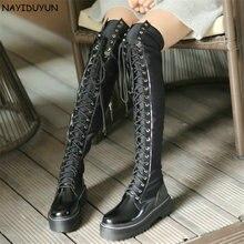 NAYIDUYUN высокие сапоги до бедра женские черные на шнуровке сапоги выше колена зимние высокие вал сникеры в стиле «панк» оксфорды для верховой езды криперы Новы