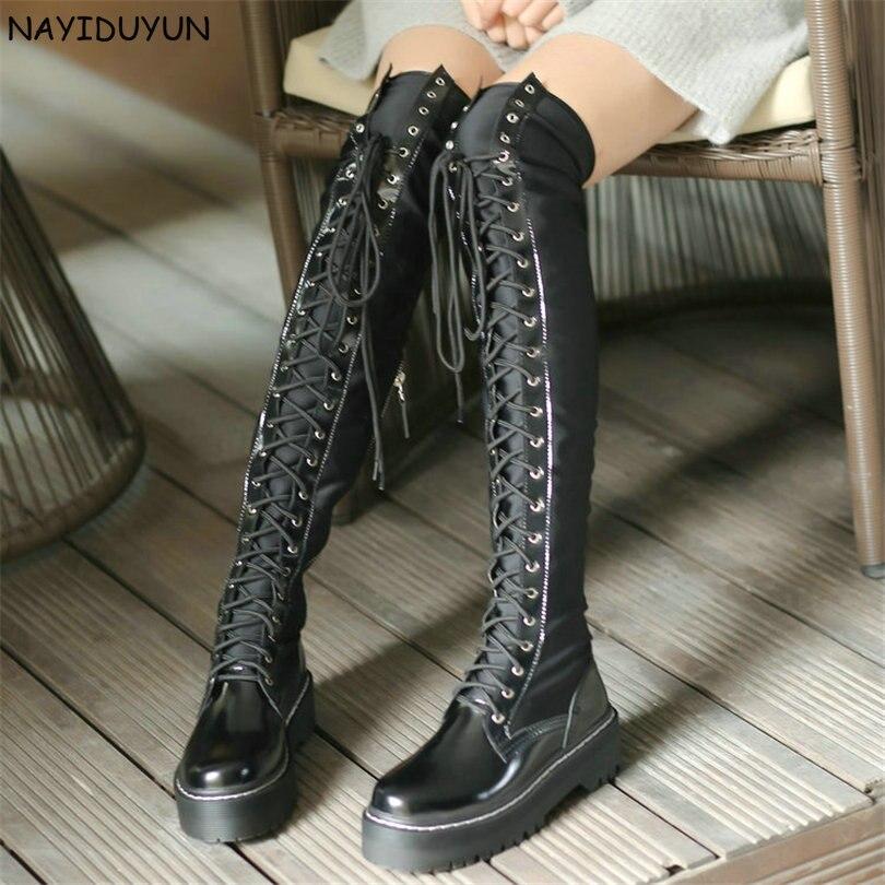 NAYIDUYUN cuissardes femmes noir à lacets au-dessus du genou chaussons hiver tige haute Punk baskets Oxfords équitation Creepers nouveau