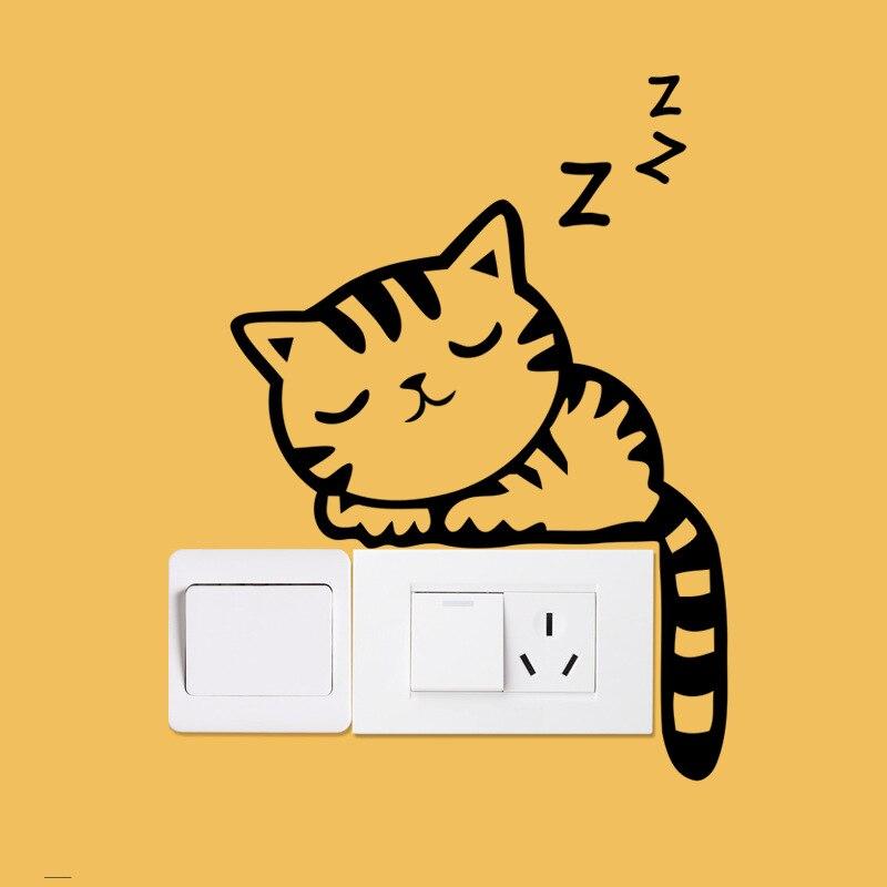 ộ_ộ ༽Cute Cat Wall Stickers Cartoon Switch Decor Decals Stickers ...