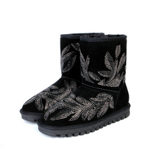 2017 Women's Suede Rhinestone Snow Boots Girls Leather Winter Boots For Women Ankle Snow Boots Printed Floral Shoes Black
