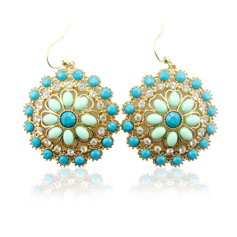 Women Special store Round diamante gold alloy flower pendant hanging Earrings brincos female earing