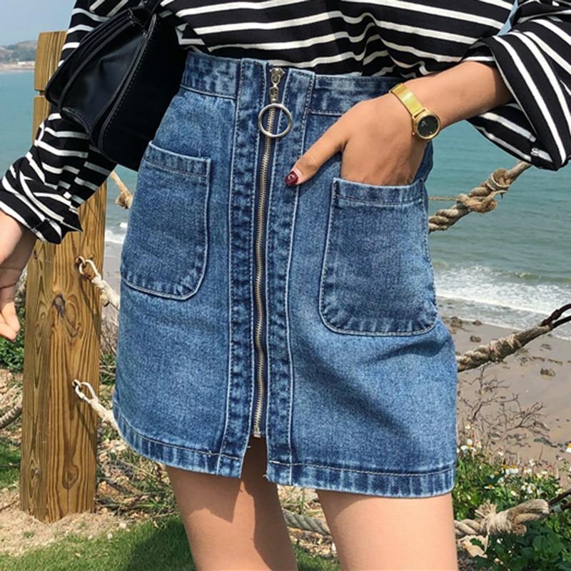 Image 3 - Vintage High Waist Denim Skirt Women Mini A Line Skirts Female Summer Blue Fashion Casual Zipper Big Pocket Jean skirts women-in Skirts from Women's Clothing