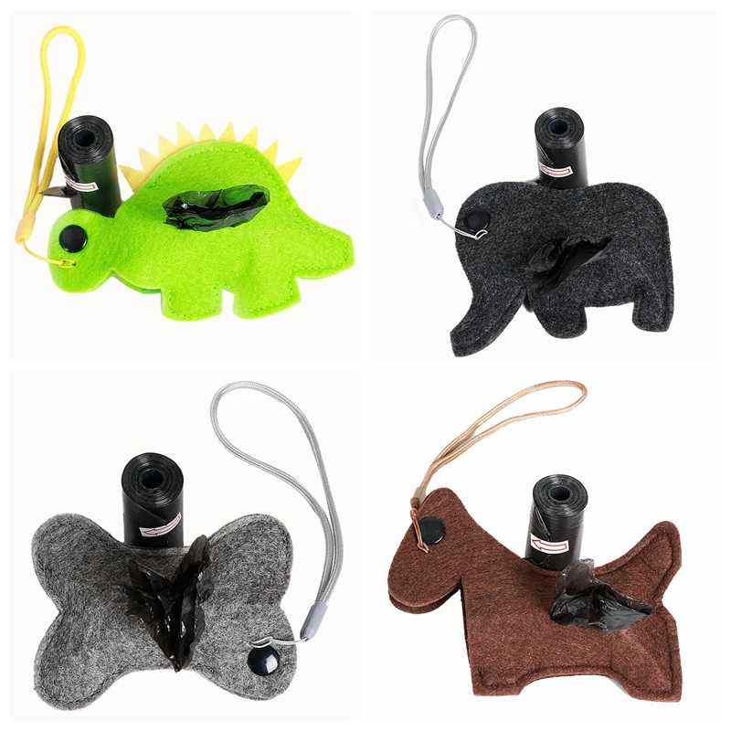 لينة ديناصور الكلب التقاط حقيبة في الهواء الطلق الحيوانات الأليفة كيس النفايات استبدال المحمولة البلاستيك الضبع تنظيف حقيبة الكلب الملحقات