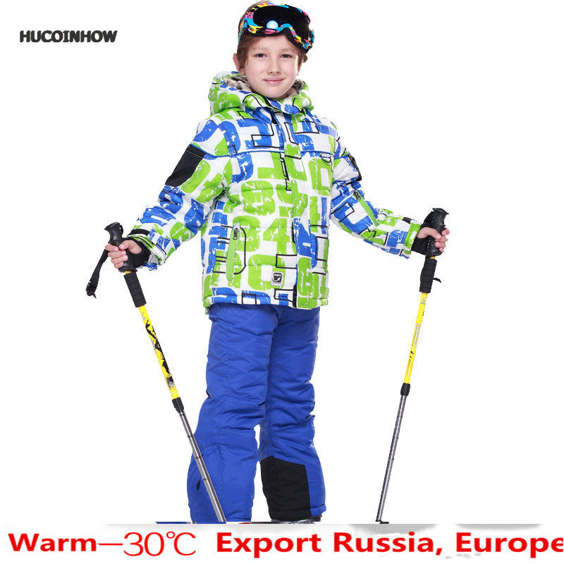 HUCOINHOW Brand Boys/girls Ski Suit Waterproof Windproof Snow Pants+jacket a Set of Winter Sports Child Thickened Clothes