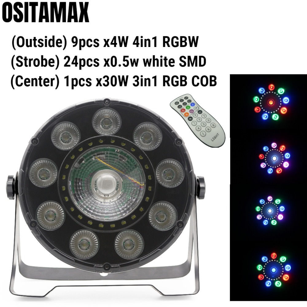 OSITAMAX-A 12pcs/lot dmx strobe par can stage light 9*4w dmx rgbw slim wedding lights with 30w cob dj par light indoor 3in1OSITAMAX-A 12pcs/lot dmx strobe par can stage light 9*4w dmx rgbw slim wedding lights with 30w cob dj par light indoor 3in1