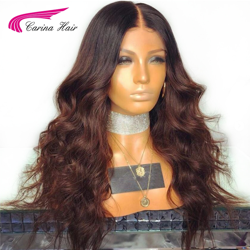 Carina Body Wave Ombre Color Lace Front Wigs Baby Hair Brazilian Remy Human Hair Lace Wigs Pre-Plucked Hairline Bleached Knots