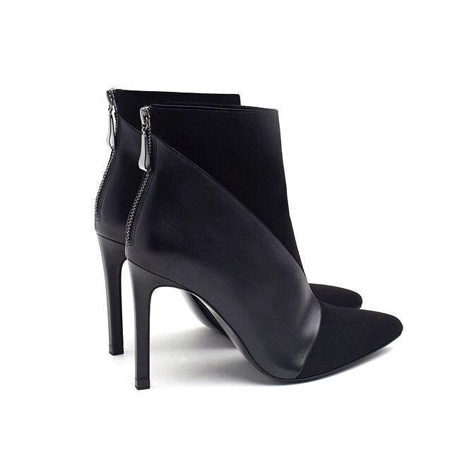 Elegantes 2017 Botas Tobillo Cortas Stilettos Moda Furtado Invierno Zapatos Sexy Tacones Mujer Punta Plush Black Single black Estrecha Arden P0p5qxwR