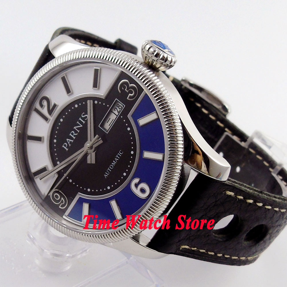 Parnis 42mm sandwich dial date sapphire glass leather strap 5ATM 21 jewels MIYOTA Automatic mens watch 411 relogio masculinoParnis 42mm sandwich dial date sapphire glass leather strap 5ATM 21 jewels MIYOTA Automatic mens watch 411 relogio masculino