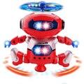 Dançarina Robô de Brinquedo Robô de Estimação eletrônico 360 Rotating Musical de Dança Caminhada Iluminar Brinquedo Eletrônico Presente de Aniversário Para Crianças Crianças