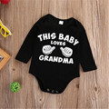 Children Baby Clothes Bodysuit Black Letter Print Newborn Kids Baby Boys Girls Long Sleeve Jumpsuit Bodysuit Clothes Outfit